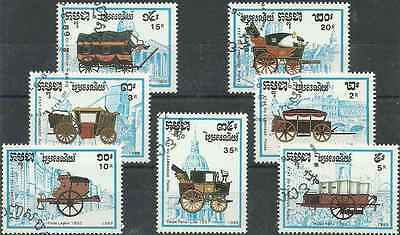Timbres Transports Cambodge 879/85 o (12003)