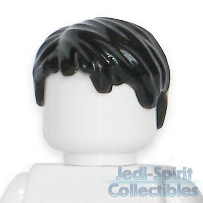 Lego Minifig Hair - Short Tousled Side Part - Black Color *NEW*