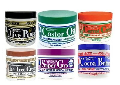 Hollywood Beauty Castor Oil Cocoa Body Creme Carrot Tea Tree Olive Hair Pomade