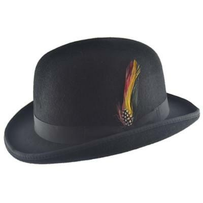 100% Wool Bowler Hat Fashion Hat Satin Lining Removable Feather Various Colours