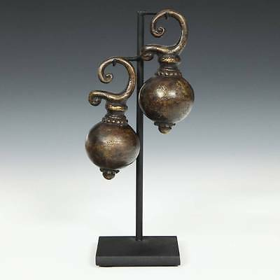 Vintage Pair Tribal Earweights Bronze Dayak Kalimantan Indonesia S.e. Asia