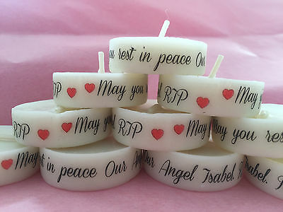 Funeral Personalised Remembrance & Memorial tealight favours. light in memory