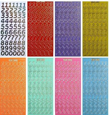 BRIGHT NUMBERS Peel off Stickers 18mm Tall Card Making Pink Purple Yellow