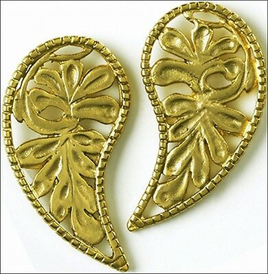 Byzantine Leaf Post Earrings - 24 Karat Gold-Plated - Sterling Silver Ear-Posts
