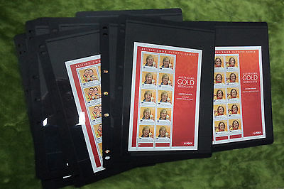 #t59.  14 Different Australian Gold Medallists Po 2008  Olympic Stamp Sheets