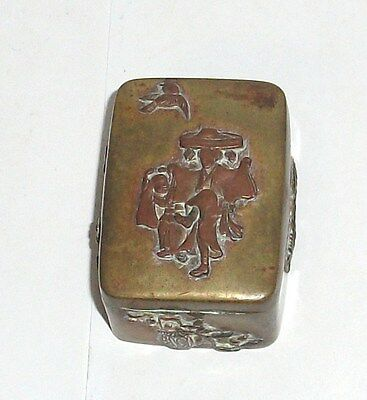 Old Bronze Japanese Mixed Metal Copper Trinket Snuff Stamp Jar Box