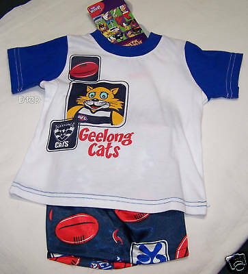 Geelong Cats AFL Boys 2 Piece Cotton / Satin Pyjama Set Size 0 New