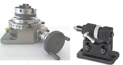 """Rotary table 4"""" with Lathe Chuck and Adjustable Height Tailstock"""