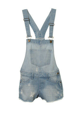 Girl's Teenagers Distressed Denim Dungaree Frayed Shorts Denim Playsuit