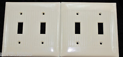 2 Vtg Bakelite Ivory 2 Gang Light Switch Plate Art Deco Uniline Sierra Ribbed