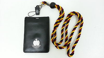Warrant ID Card badge holder Genuine leather vertical w/ HKP multicolor lanyard