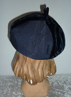 Young Girls Vintage Hat~Blue Velvet Beret~Modern Miss