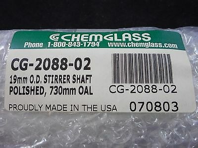 New CHEMGLASS Glass 19mm OD 730mm OAL Ground Polished Stirrer Button Type Shaft