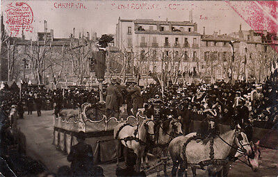 AIX-EN-PROVENCE CARNAVAL photo fly timbrée 1909