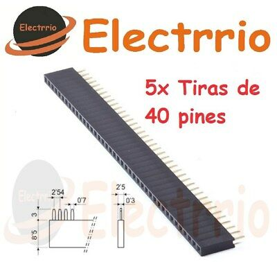 EL2241 Lote 5 x Tira 40 Pines Hembra Pin 2,54 mm Pins PCB Arduino Electronica