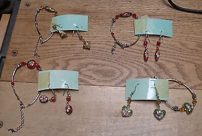 4 Matching Sets Earrings & Bracelets Silvery Metal Jeweled Enameled Lot #1 Mb