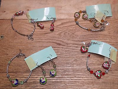 4 Matching Sets Earrings & Bracelets Silvery Metal Jeweled Enameled Lot #2 Mb