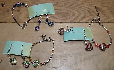 3 Matching Sets Earrings & Bracelets Silvery Metal Jeweled Enameled Lot #3 Mb