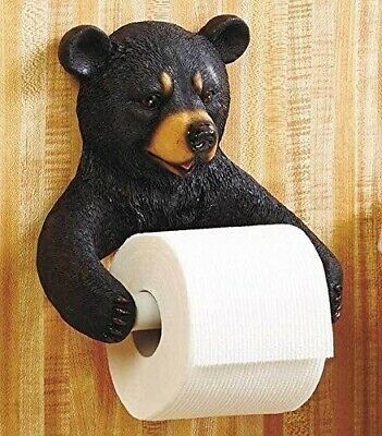 Bathroom Hugo The Black Bear Figural Toilet Paper Holder Home Decor Collectible