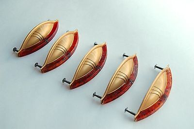 Mid century drawer pulls, set of 5 - gold tone and lucite
