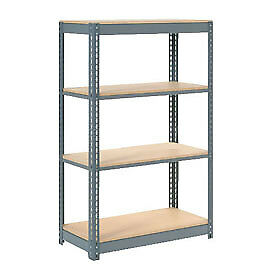 "Heavy Duty Shelving 48""W x 12""D x 60""H With 4 Shelves, Wood Deck"