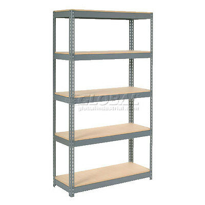 "Extra Heavy Duty Shelving 48""W x 12""D x 72""H With 5 Shelves, Wood Deck"