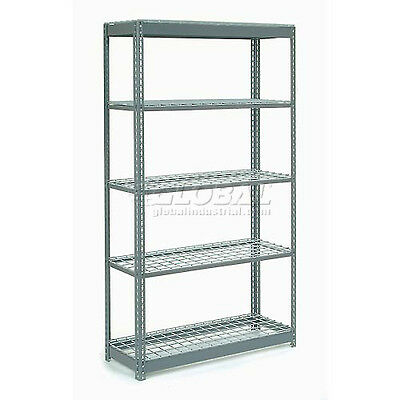 "Extra Heavy Duty Shelving 48""W x 18""D x 96""H With 5 Shelves, Wire Deck"
