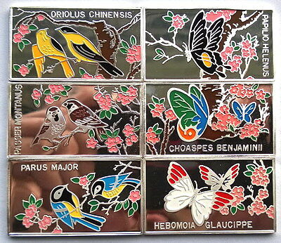 1998 Natural Bird Butterfly Set of 6 Silver Coins,Proof,Rare!