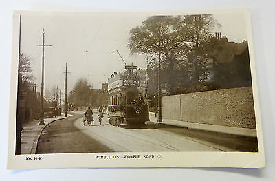 Wonderful Early Real Photo Postcard Wimbledon Worple Rd Tram & Street Scene