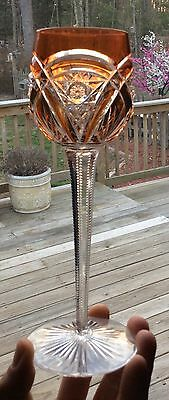 """Baccarat St Louis Cut Glass Apricot to Clear 8"""" Wine Goblet"""