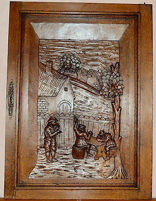 French Large Antique Middle Ages Hand Carved Oak Wood Door Panel - Tavern 19th.c