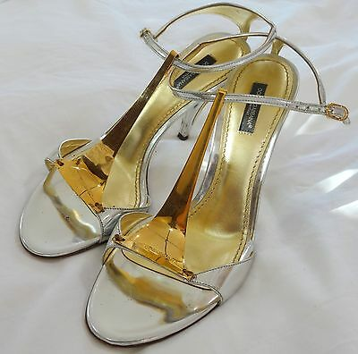 Amazing Dolce & Gabbana Leather Gold and Silver Sandals EU 39 US 9 - $549 RETAIL