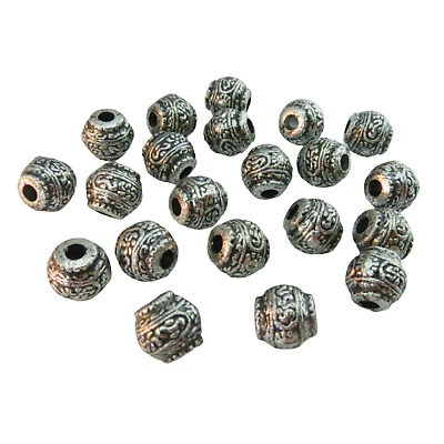 50PCS X 10MM Tibetan Silver Style Acrylic Spacer Beads For Jewellery Making