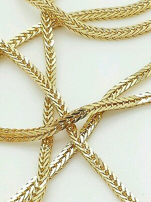 """14k Solid Yellow Gold Italian Box Wheat Necklace Pendant Chain 18"""" 20"""" 24"""" ITALY"""