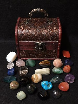 Witches Crystal Magic Chest with 25 Crystals ~ Healing ~ Spells ~ Altar ~ Ritual