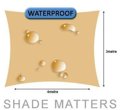 New Waterproof Shade Sail- Rectangle 3m x 4m Sand Color