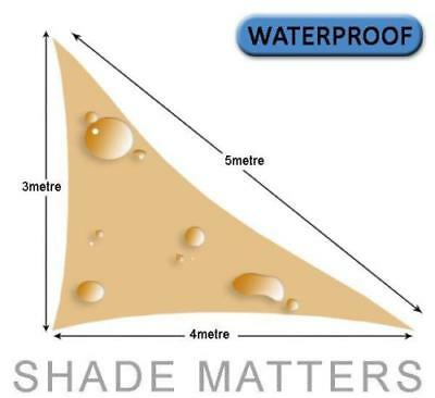 New Waterproof Shade Sail- Right Triangle 3m x4m x 5m Sand Color