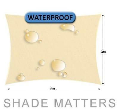 New Waterproof Shade Sail- Rectangle 3m x6m Cream Color