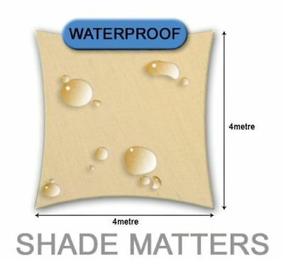 New Waterproof Shade Sail- Square 4m x4m Cream Color