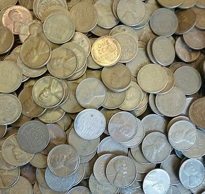1 Roll of 1909-1958 Wheat Pennies - 50 Penny Cent Unsearched Coins