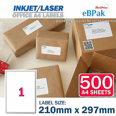 500 x 1 up 210 x 297mm Peel Paste Label A4 Office Mailing Address label - 1UP