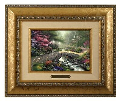 Thomas Kinkade Bridge of Faith Framed Brushwork (Gold Frame)