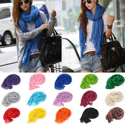 HOT Fashion Cotton Linen Mixed Crinkle Women Long Pure Color Scarf Wrap Shawl