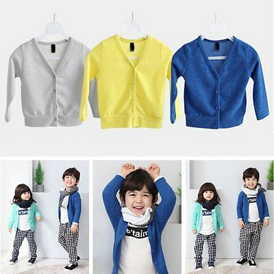 New Kids Baby Boys Girls Casual V-neck Cardigan Cotton Jacket Coat Outerwear