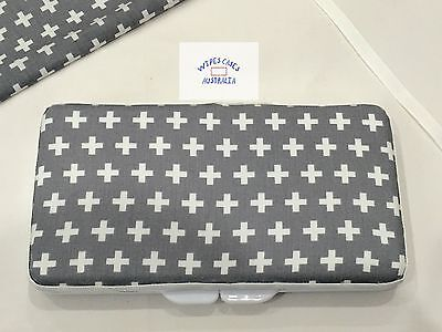 Grey With White Crosses Baby Wipes Case - Perfect Gift For Baby Shower