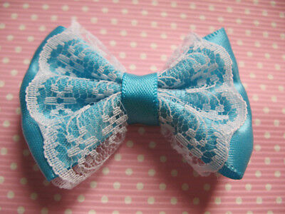 "20 Sewn 2"" Satin Ribbon Lace Bow -Turquoise R053-1"