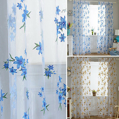 Floral Home Door Window Solid Sheer Curtains Voile Drape Panel Curtain Elegent