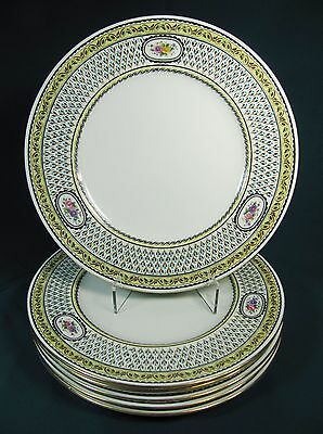 Six Cauldon China Embossed Dinner Plates - Pattern Y 3830 - 10.75""