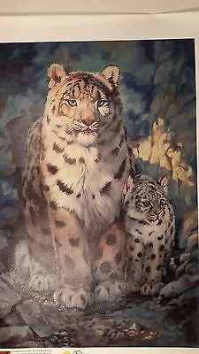 SNOW LEOPARD with Cub, XLarge Canvas Giclee, Clancy Cherry
