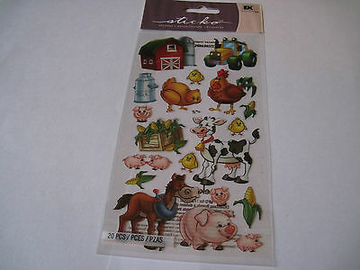 Scrapbooking Stickers Sticko Farm Friends Barn Horse Cow Pig Tractor